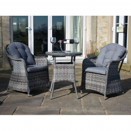 Luxury Grey Rattan Outdoor 3 Piece Bistro Set Garden Furniture